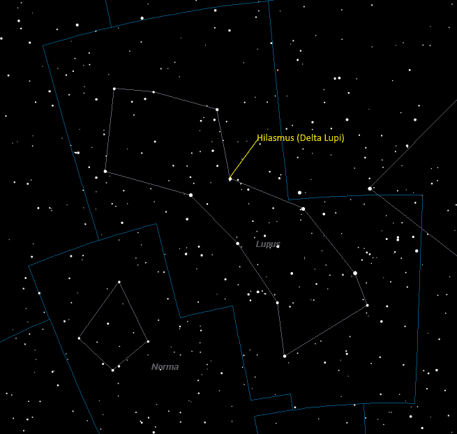 Hilasmus (Delta Lupi) Location in Lupus