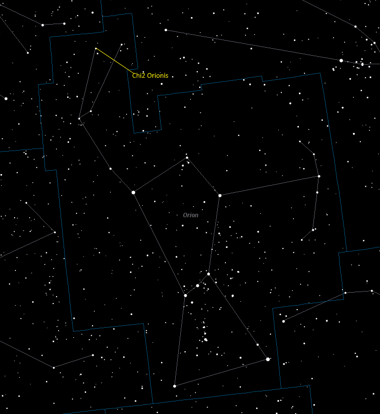 Chi2 Orionis (Chi2 Orionis) Location in Orion