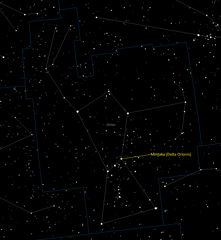 Mintaka (Delta Orionis) Location in Orion
