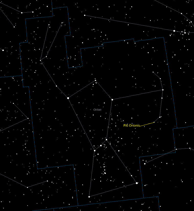 Pi6 Orionis (Pi6 Orionis) Location in Orion