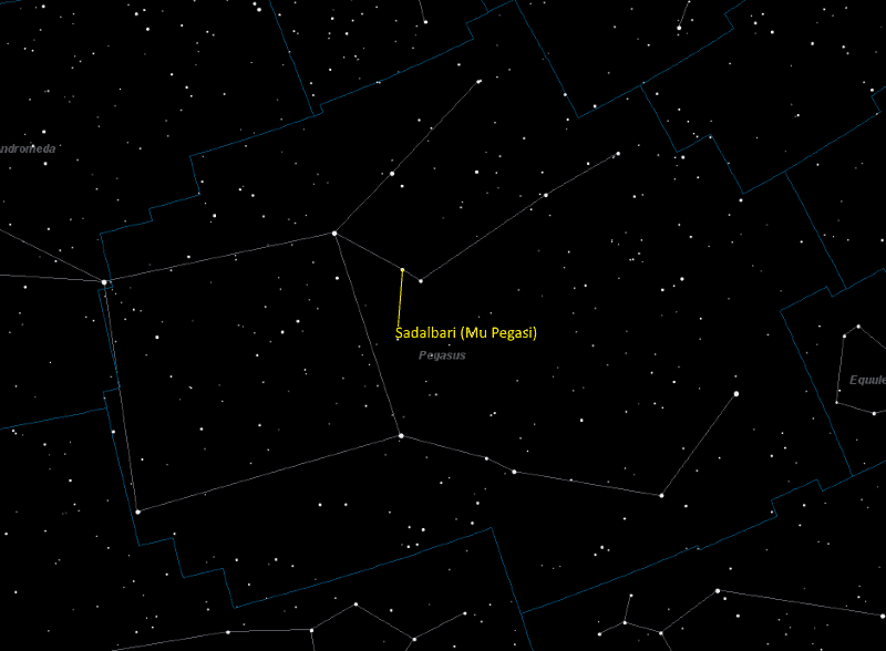 Sadalbari (Mu Pegasi) Location in Pegasus