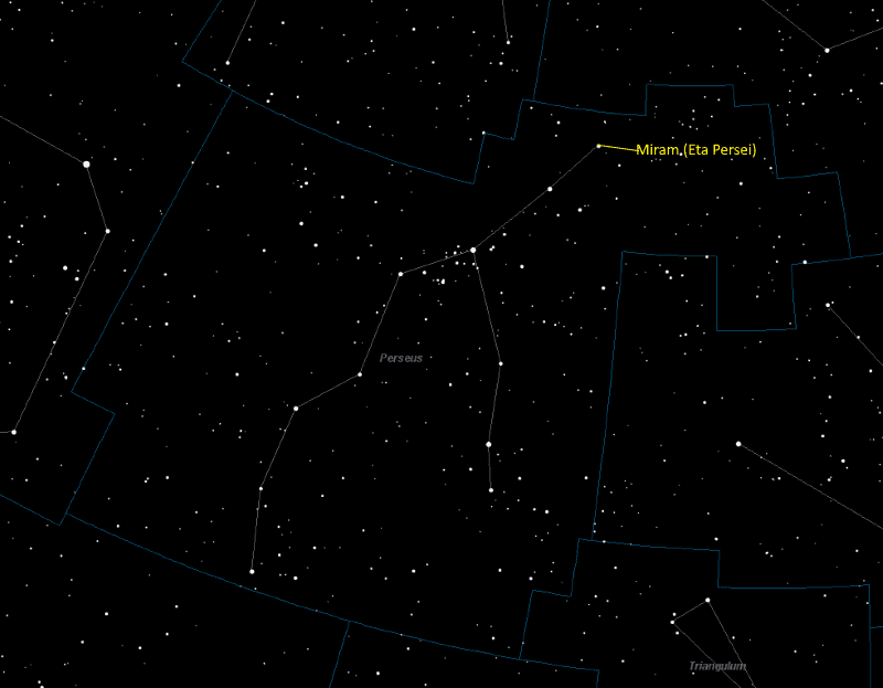 Miram (Eta Persei) Location in Perseus