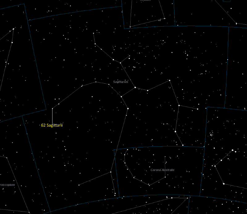 62 Sagittarii Location in Sagittarius
