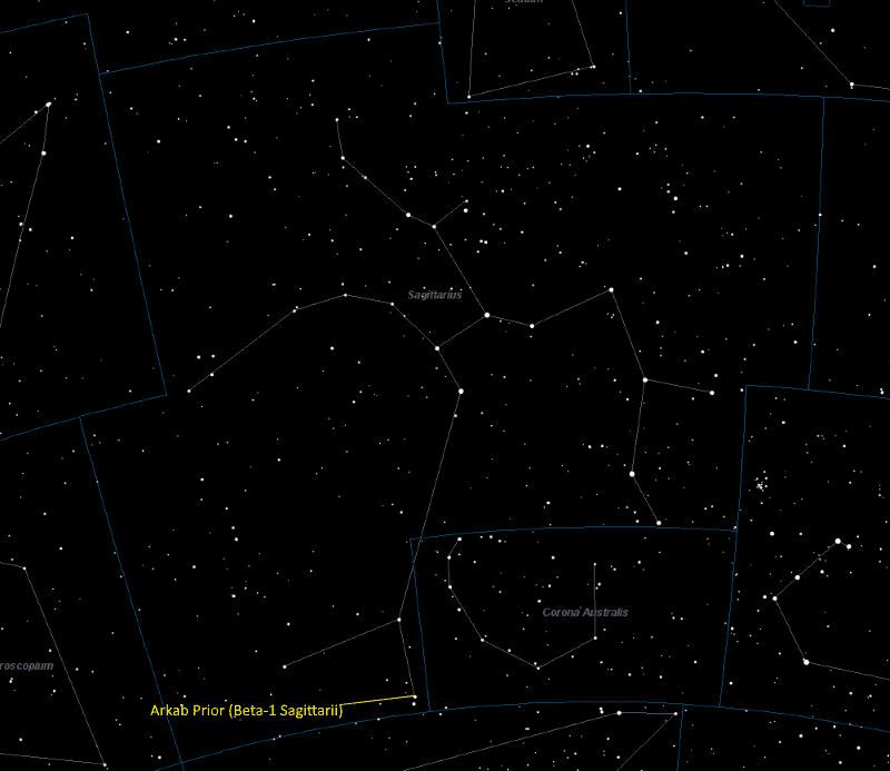 Arkab Prior (Beta-1 Sagittarii) Location in Sagittarius