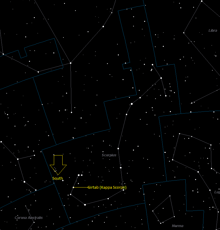 Girtab (Kappa Scorpii) Location in Scorpius