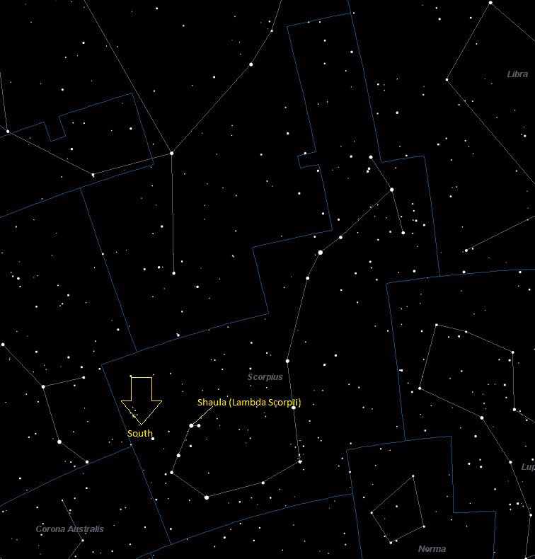 Shaula (Lambda Scorpii) Location in Scorpius