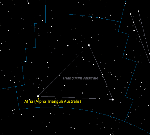 Atria (Alpha Trianguli Australis) Location in Triangulum Australe