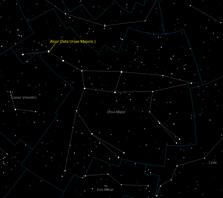 Alcor (Zeta Ursae Majoris ) Location in Ursa Major