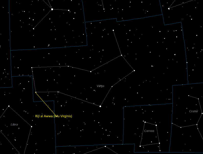 Rijl al Awwa (Mu Virginis) Location in Virgo
