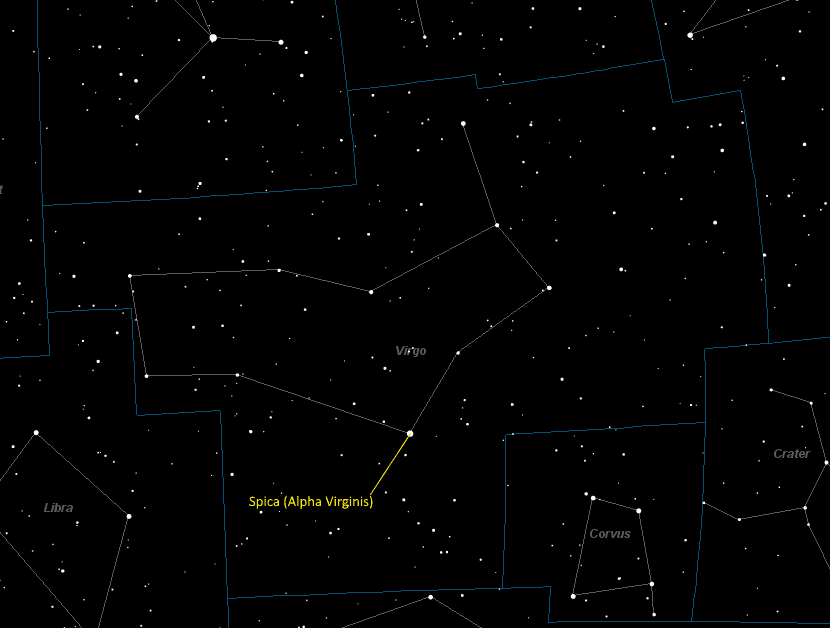 Spica (Alpha Virginis) Location in Virgo