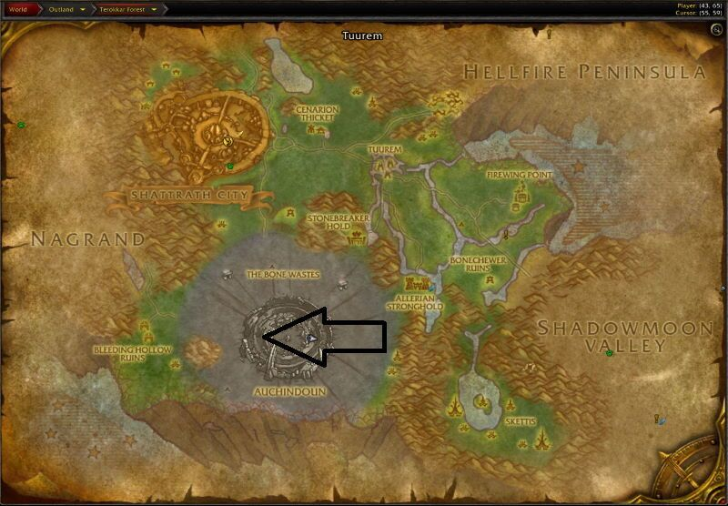 Location of Auchenai Crypts