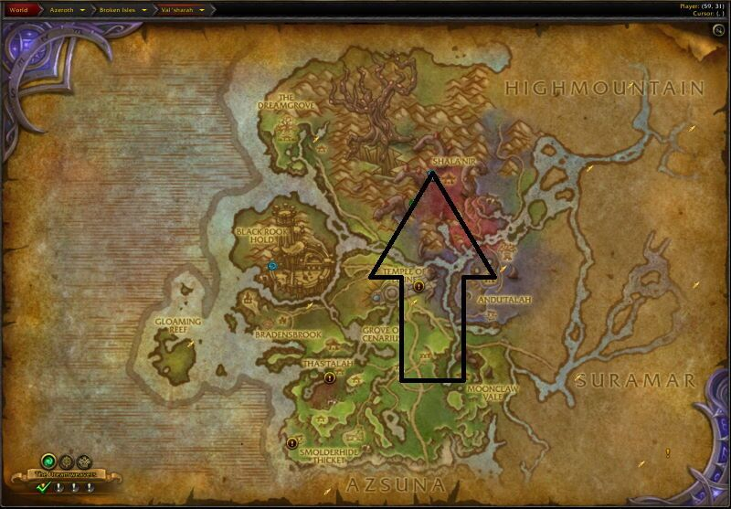 Location of Darkheart Thicket
