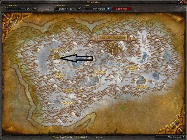 Location of Gnomeregan