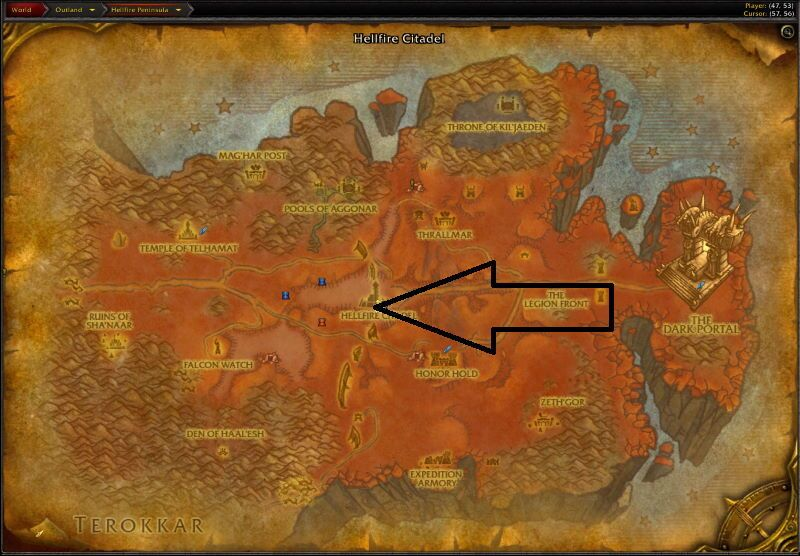 Location of Hellfire Ramparts