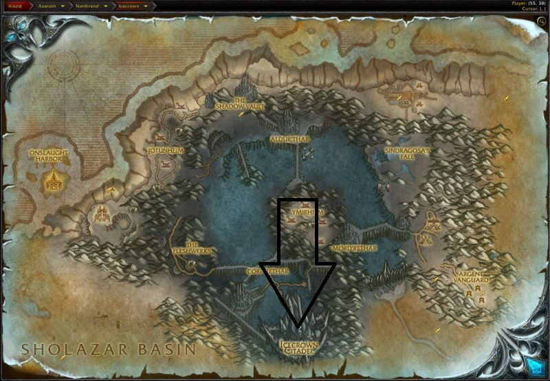 Location of Icecrown Citadel