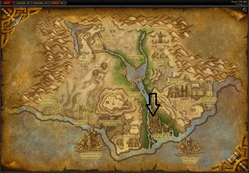 Location of Lost City of Tol`vir