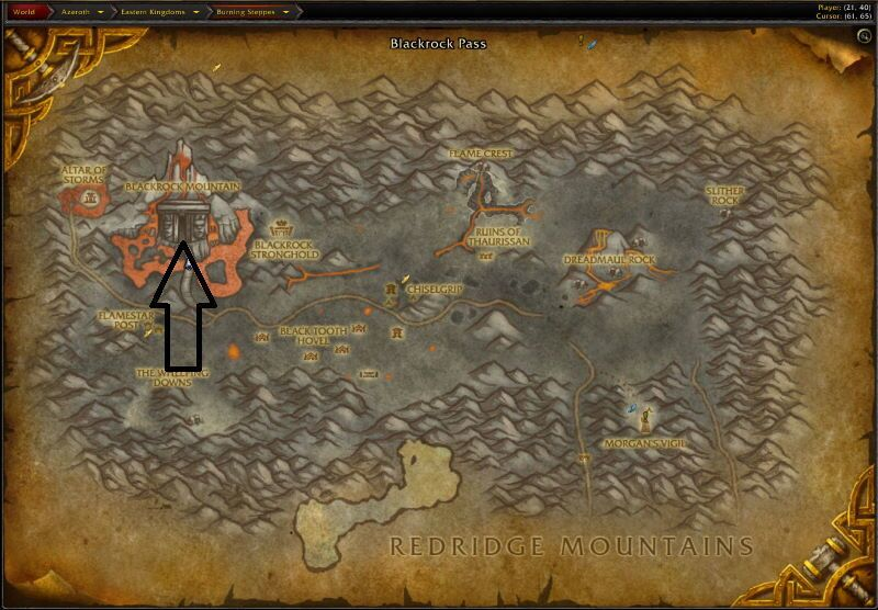Location of Lower Blackrock Spire