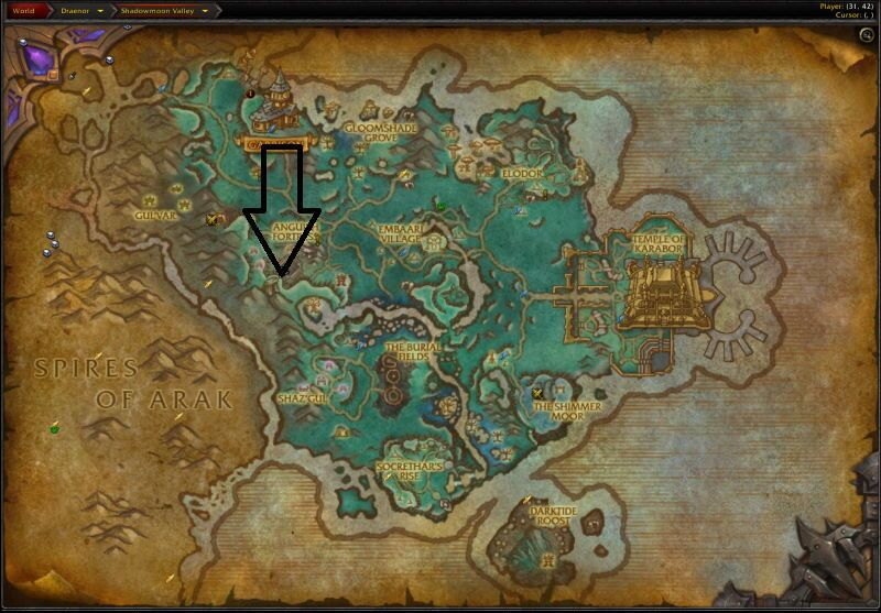 Location of Shadowmoon Burial Grounds
