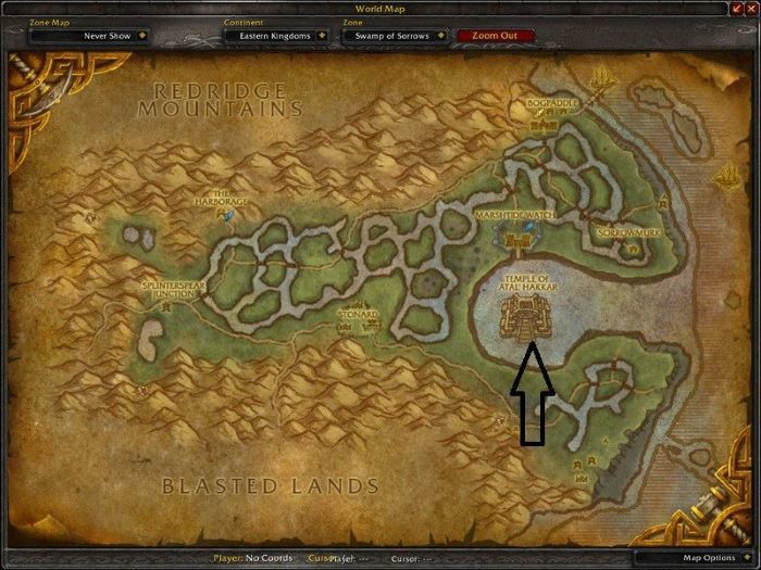 Location of The Temple of Atal`Hakkar, a.k.a. The Sunken Temple