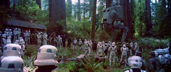 The <a href=/organisation/rebelalliance>Rebel Alliance</a> captured as they attack the Shield Generator Bunker with AT-ST