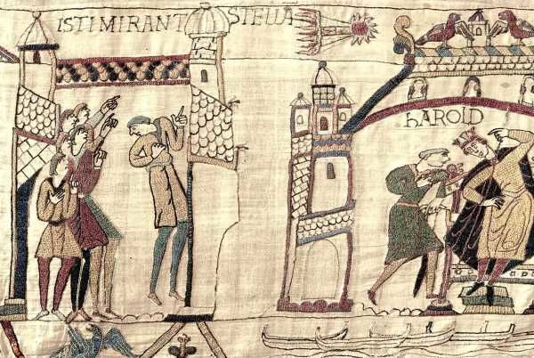 The Bayeux Tapestry which chronicled the Battle of Hastings showing Halleys Comet.