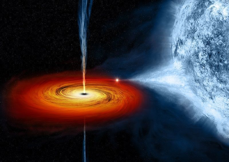 NASA's artists impression of Cygnus X-1 black hole feeding off a nearby star.