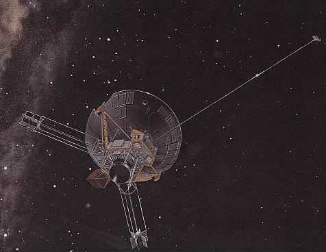 Artists Impression of Pioneer Space Probe in Space