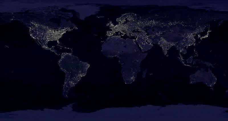 Earth at night with light polution