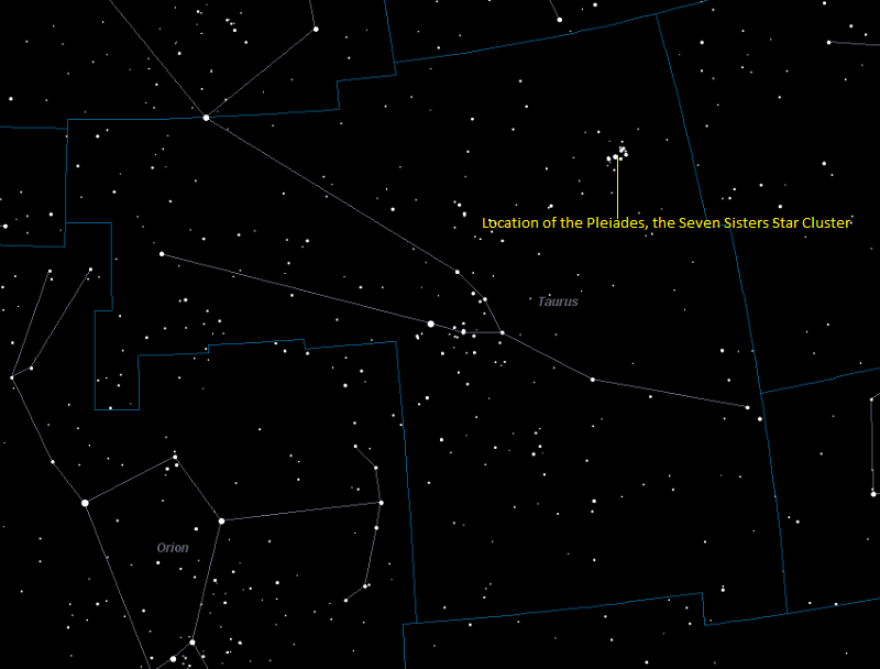 Image showing the location of the Pleiades Star Cluster in Taurus