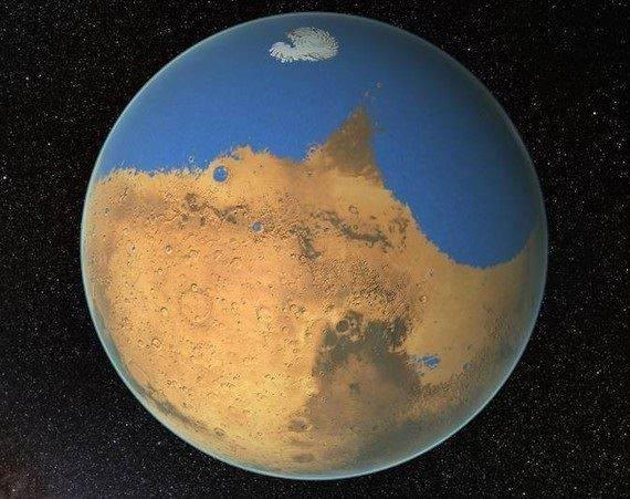 Artists impression of what Mars might`ve looked like once with an ocean covering the southern half of the planet.