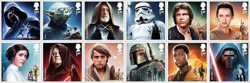 Collection of Star Wars Stamps of main Characters from The Royal Mail