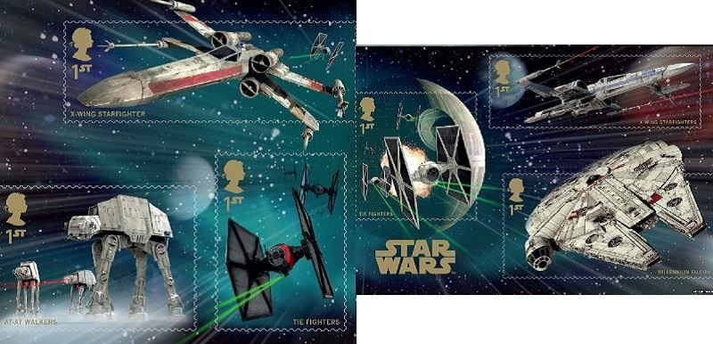 Collection of Star Wars Stamps of the Vehicles from The Royal Mail