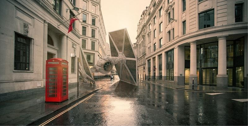T.I.E. Fighter from Star Wars crashes in London