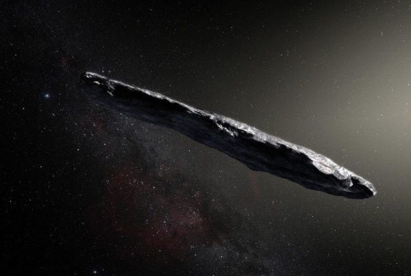 N.A.S.A. artists impression of the Oumuamua asteroid.