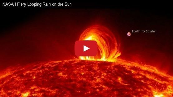 NASA video of a solar flare and comparison of earth