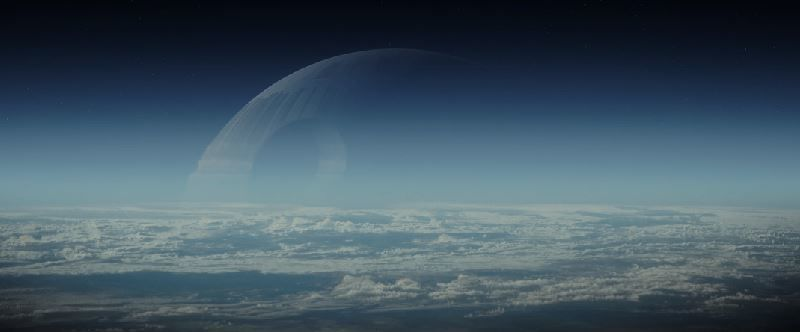 Death Star rising above the horizon