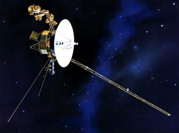 Artists impression of Voyager space probe in space