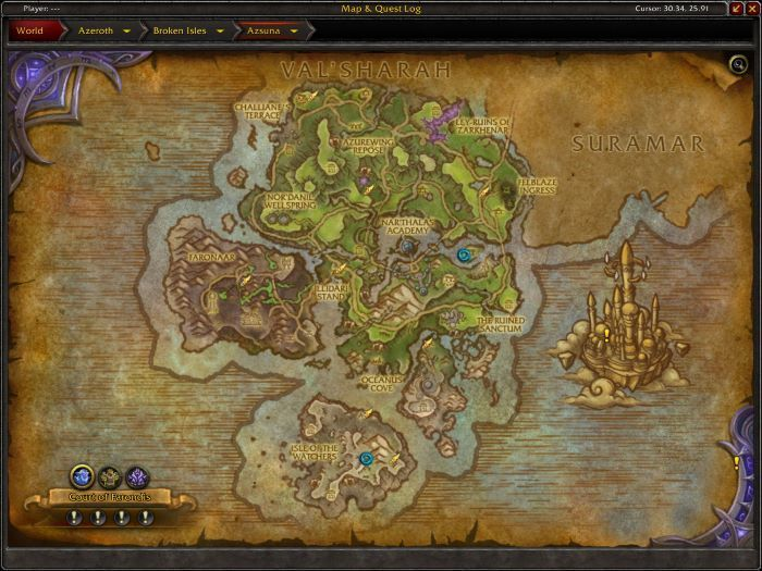 Azsuna Zone in World of Warcraft, copyright Blizard Ent.