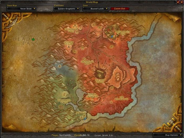 Blasted Lands Zone in World of Warcraft, copyright Blizard Ent.