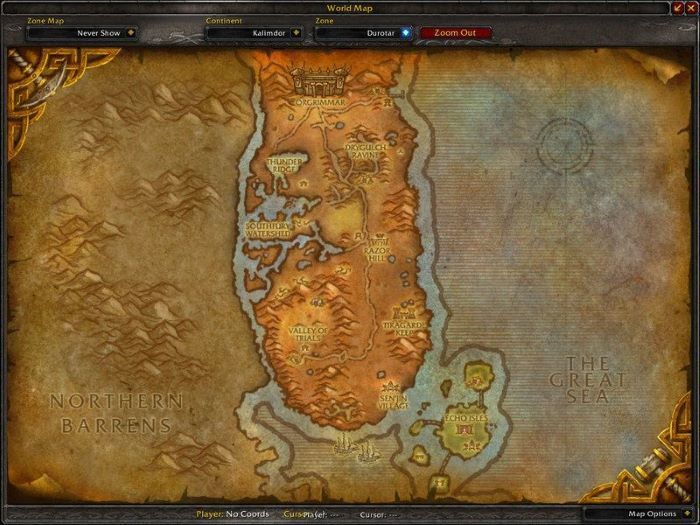 Durotar Zone in World of Warcraft, copyright Blizard Ent.