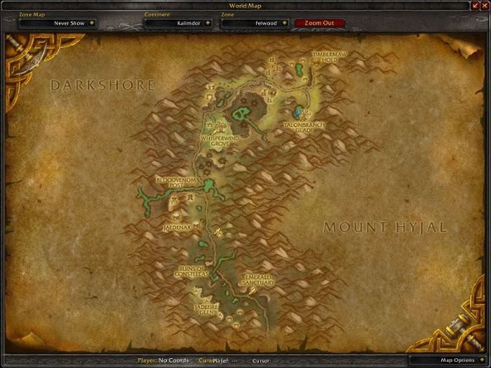 Felwood Zone in World of Warcraft, copyright Blizard Ent.