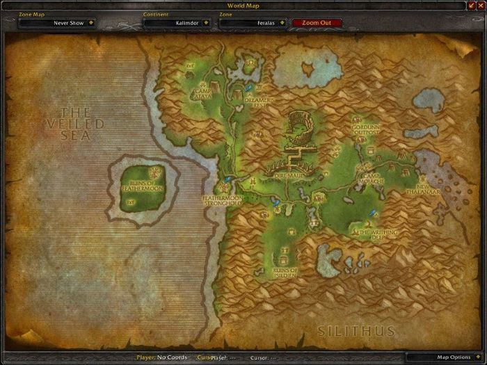 Feralas Zone in World of Warcraft, copyright Blizard Ent.