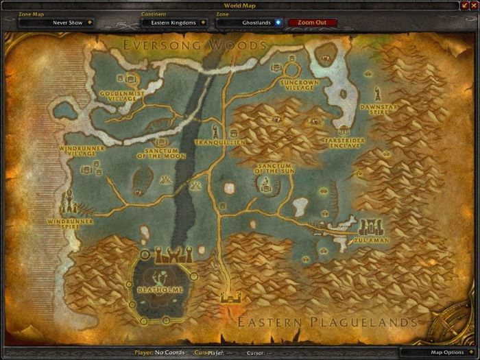 Ghostlands Zone in World of Warcraft, copyright Blizard Ent.