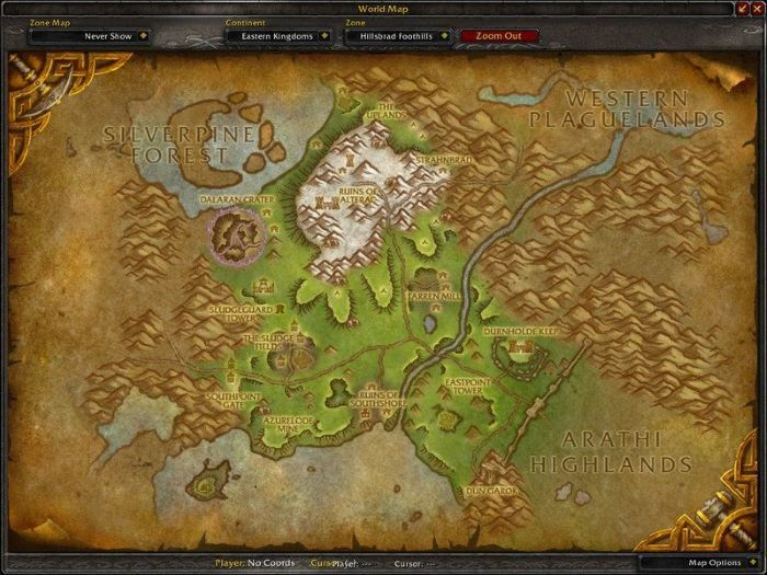 Hillsbrad Foothills Zone in World of Warcraft, copyright Blizard Ent.