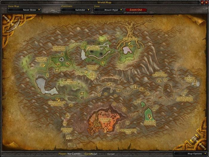 Mount Hyjal Zone in World of Warcraft, copyright Blizard Ent.