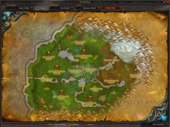 Sholazar Basin Zone in World of Warcraft, copyright Blizard Ent.