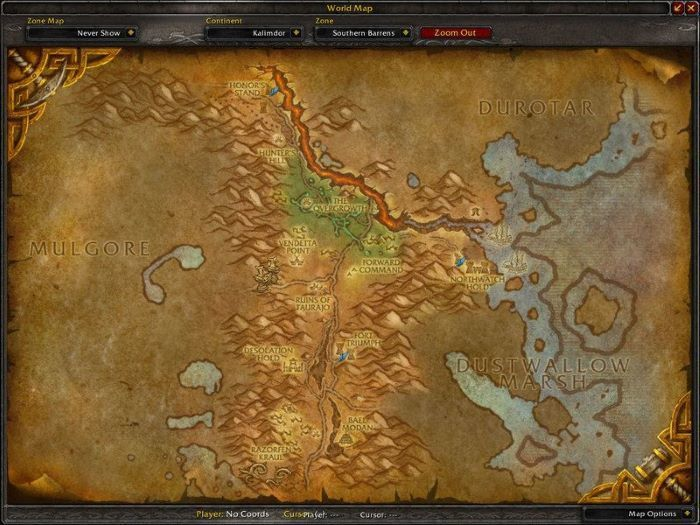 Southern Barrens Zone in World of Warcraft, copyright Blizard Ent.