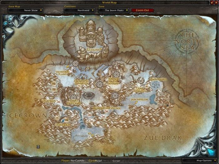 Storm Peaks Zone in World of Warcraft, copyright Blizard Ent.