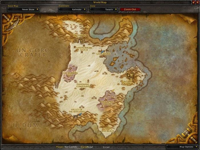 Tanaris Zone in World of Warcraft, copyright Blizard Ent.