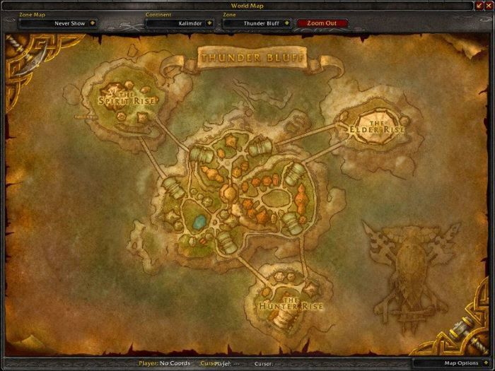 Thunder Bluff Zone in World of Warcraft, copyright Blizard Ent.